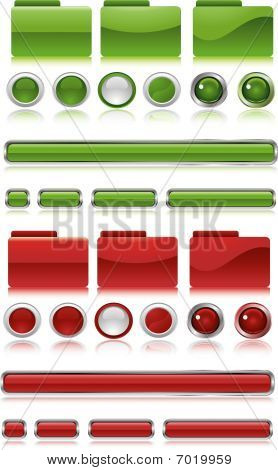 Green And Red Web Button Set
