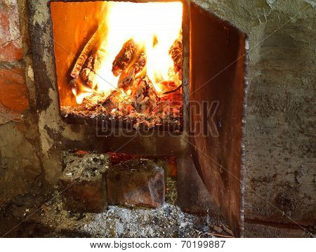 Flame Of Burning Wood In Furnace