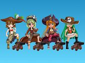 picture of pirate girl  - Pirate girls with fantasy outfits on background - JPG