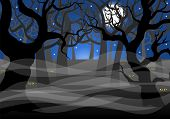 foto of moon silhouette  - vector illustration of a dark ghostly forest and full moon - JPG