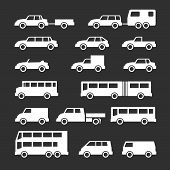 pic of motor-bus  - Set icons of car and bus isolated on black - JPG