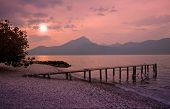 picture of moonlight  - Garda lake beach in romantic moonlight scenery - JPG