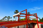foto of movable  - Red movable bridge in Road Litoral to pedestrian and cyclist use - JPG