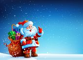 picture of stand up  - Santa Claus standing in the snow with a bag of gifts and showing thumb up - JPG