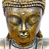 picture of siddhartha  - golden buddha face close up isolated on white - JPG