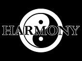 stock photo of superimpose  - THe traditional yin yang symbol in black and white with the word harmony superimposed on the top - JPG