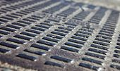 stock photo of manhole  - Close up of the metal manhole cover - JPG