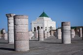 image of mausoleum  - Ancient pillars and Mausoleum in Rabat Morocco - JPG