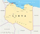 picture of libya  - Political map of Libya with capital Tripoli - JPG