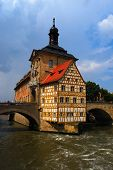 image of regnitz  - Town hall and Regnitz river Bamberg Bavaria Germany - JPG