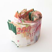 image of shekel  - Stack of Two hundred Shekel notes  - JPG