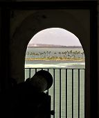 foto of san juan puerto rico  - Photograph of the view behind a cannon looking out over the water from the fort - JPG