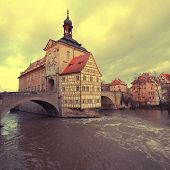 stock photo of regnitz  - The Old Town Hall of Bamberg - JPG