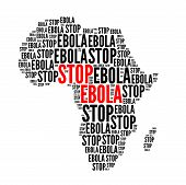 stock photo of hemorrhage  - Stop ebola red black text cloud isolated on white - JPG