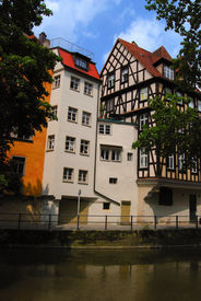 stock photo of regnitz  - Street of Bamberg and Regnitz canal - JPG