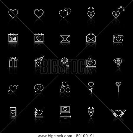 Love Line Icons With Reflect On Black Background