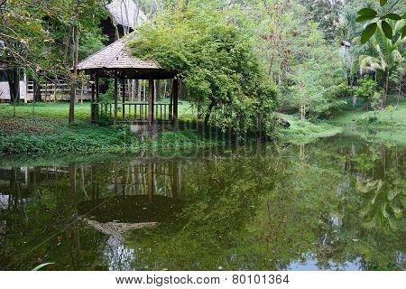 Old Teak Wood Pavilion Near The Pond