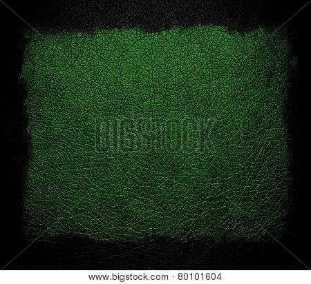 green leather background or texture with black frame