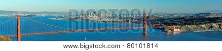 Panorama of Golden Gate Bridge with San Francisco City