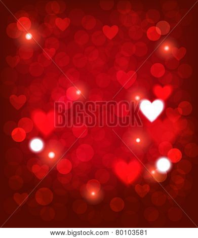 Valentine background with heart shape and lights. Vector eps 10.