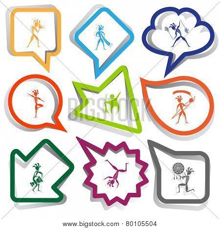Ethnic set. Paper stickers. Vector illustration.