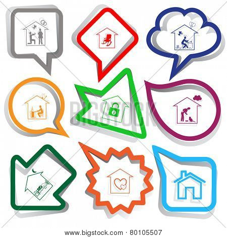 Home set. Paper stickers. Vector illustration.