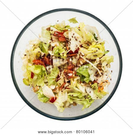 Healthy And Tasty Salad In The Round Glass Bowl