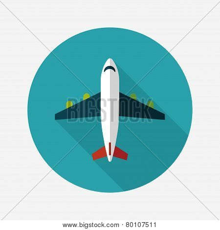 Transportation Airplane Flat Icon With Long Shadow