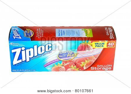 Hayward, CA - January 11, 2015: Packet of 40, Gallon size Ziploc brand storage bags by Johnson