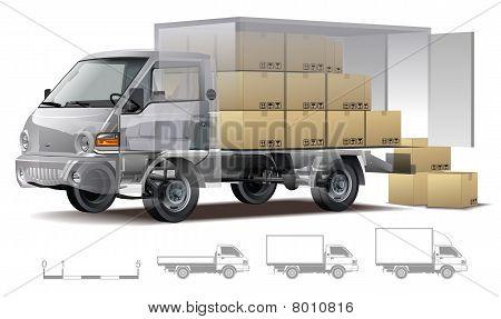 Vector entrega / corte de camiones de carga