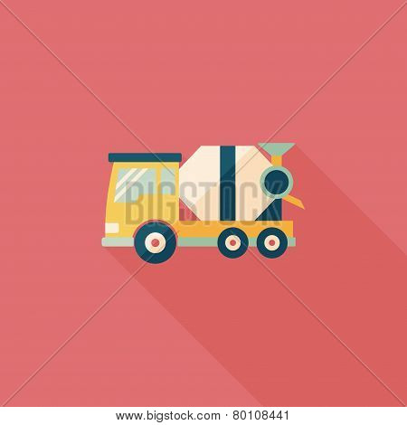 Transportation Cement Mixer Flat Icon With Long Shadow,eps10