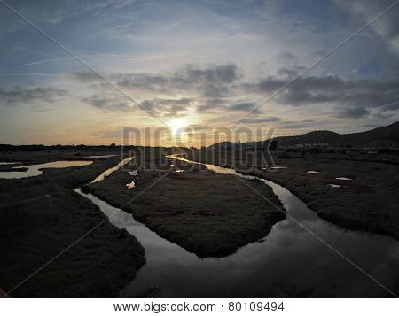 Diaccia Botrona Swamp At Sunset