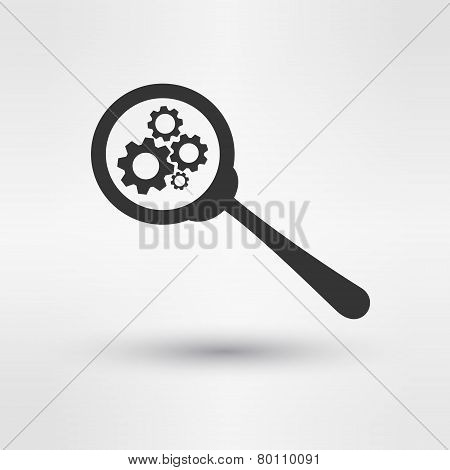 Troubleshooting Symbol Magnifying Glass and Gears Icon Design Template Vector Illustration