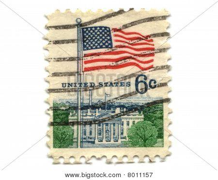 Us Postage Stamp On White Background 6C