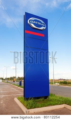 Official Dealership Sign Of Datsun. Datsun Is An Automobile Brand Owned By The Nissan Motor Company