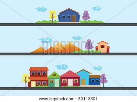 Colorful Houses And Landscape Vector Designs