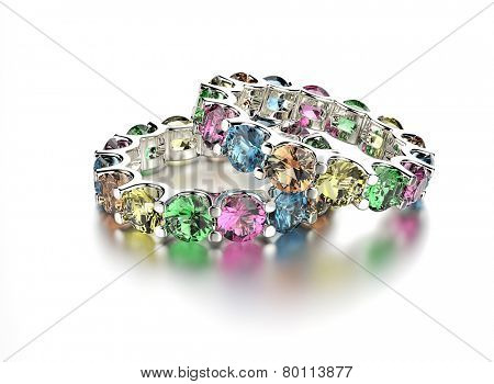 Golden Ring with different color Diamond. Jewelry background. Valentine day