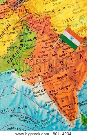 Globe Map Detail India With Indian Flag