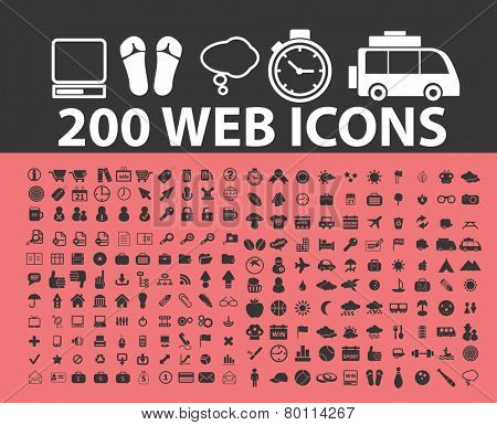 200 web, internet icons, signs, symbols, illustrations set on background, vector
