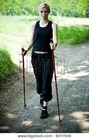 Nordic Walking In Summer Nature - Motion Blur