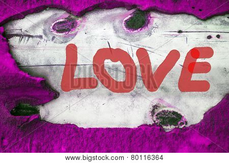 Word Love (uppercase) On Old Vintage Background