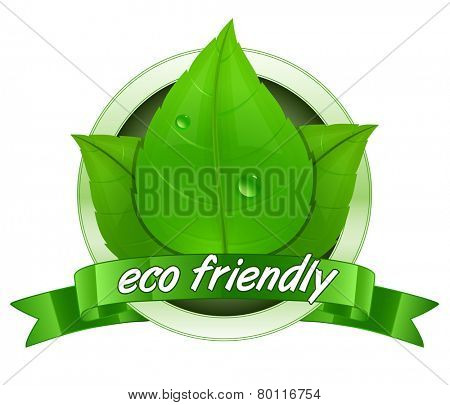 Eco friendly label. 100 percent natural badge. Vector illustration