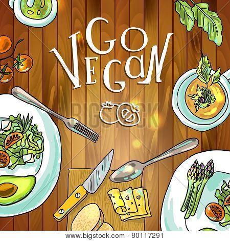 vegetarian food on board illustration
