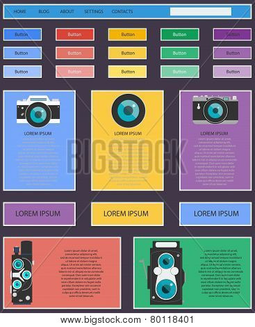 Photo video camera and multimedia equipment web site design navigation elements with icons set
