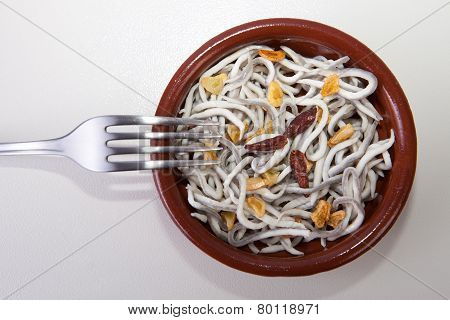 Bowl With Imitation Young Eels Cooked