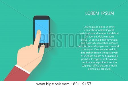 Hand holding and touch on black smartphone with blank blue screen. Vector illustration EPS10