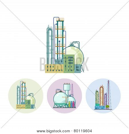 Set Icons Of A Chemical Plant Or Refinery Processing, Vector Illustration