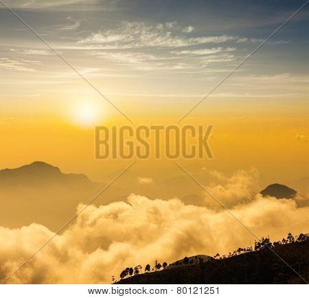 Mountains in clouds. Kodaikanal, Tamil Nadu