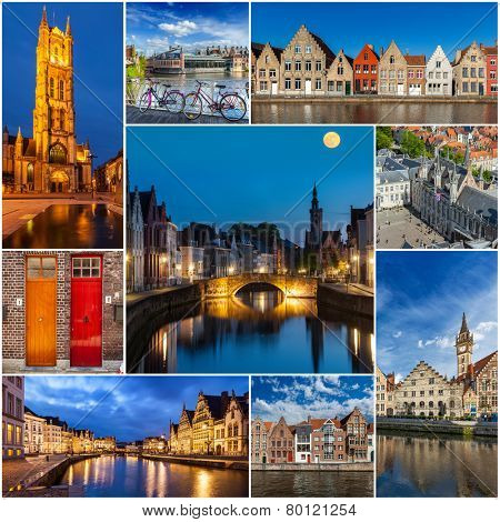 Mosaic collage storyboard of Belgium tourist views travel images