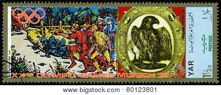 Vintage  Postage Stamp. Munich Olymhic City 1972. Cross-country Race.